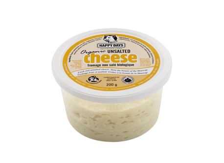 Unsalted Cheese Organic Happy Days Canadian Cheese