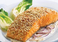Sesame Salmon Fillets with Red Onion and Ginger Cream