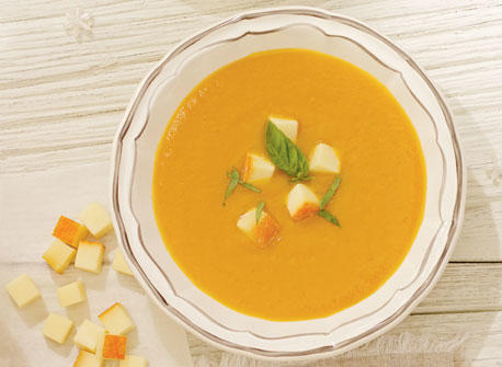Acorn Squash Potage with Tomato and Le Mamirolle Cheese Recipe