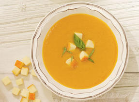 Acorn Squash Potage with Tomato and Le Mamirolle Cheese