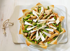 Asparagus and Brie wonton tart