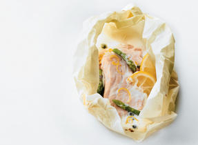Atlantic Salmon & Asparagus en Papillote with Lemon Caper Sauce