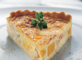 Autumn Quiche with Squash, Pears and Bacon