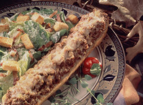Baguette Stuffed with Bolognese Sauce