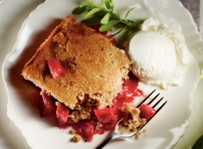 Baked Apple Rhubarb Cobbler