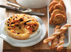 Baked Canadian Camembert with Pine Nuts and Apricots