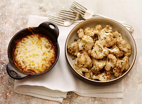 Baked Cauliflower with Cheesy Madras Curry Dip Recipe