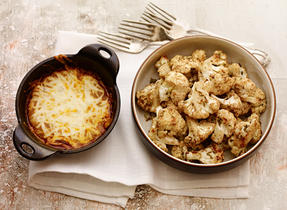 Baked Cauliflower with Cheesy Madras Curry Dip