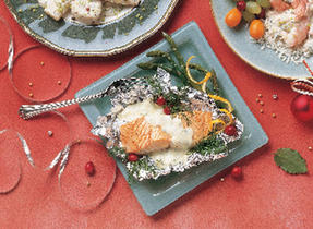 Baked Fillet of Salmon with Coriander Sauce