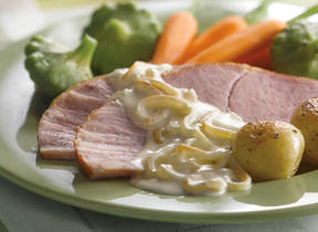 Baked Ham with Maple Caramelized Onions & Mustard Sauce
