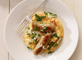 Bangers and Mash with Parmesan Polenta