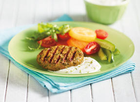 Barbequed Curried Chicken Burgers with Yogurt Sauce