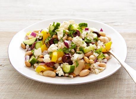 Bean and barley Greek salad Recipe