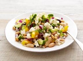 Bean and barley Greek salad