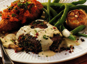 Beef Medallions with Roasted Garlic and Brandy Sauce