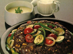 Beef Ring with Fall Vegetables and Cheese Sauce