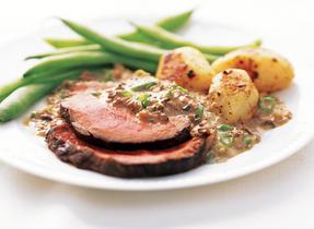 Beef Tenderloin with Tarragon Mushroom Sauce