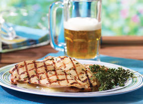 Beer-basted chicken with Aged Cheddar