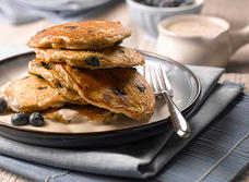 Blueberry and Oatmeal Pancakes with Maple Yogurt Topping recipe