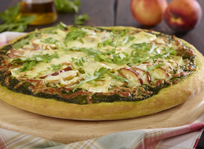 Brie, Mozzarella & Peach Pizza with Basil & Arugula Pesto