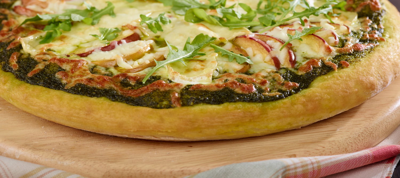 brie mozzarella peach pizza with basil arugula pesto recipe dairy goodness. Black Bedroom Furniture Sets. Home Design Ideas