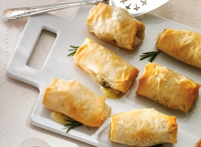 Brie, mushroom and rosemary pastries