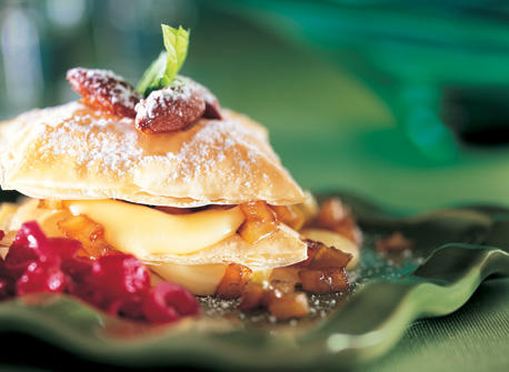 Brie Napoleon with glazed almonds Recipe