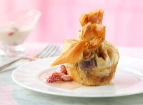 Bumble Berry Cheesecakes Wrapped in Phyllo with Sweet Creamy Strawberry Caramel