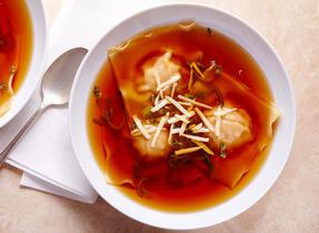Butternut & Swiss cheese ravioli soup