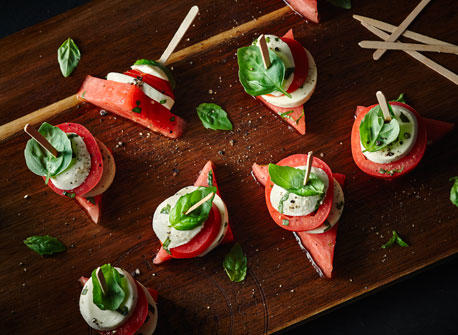 Caprese Tomato & Melon Stacks Recipe