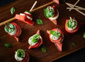 Caprese Tomato & Melon Stacks