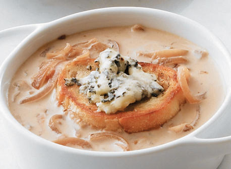 Caramelized Onion Soup with Blue Cheese Croutons Recipe