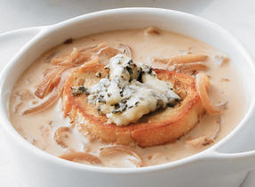 Caramelized Onion Soup with Blue Cheese Croutons