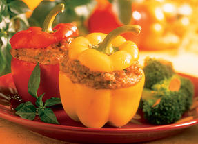 Cheddar and Pumpkin Stuffed Peppers