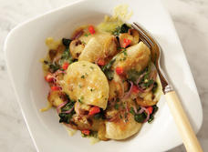 Cheddar-Crusted Perogies and Veggies