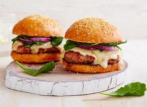 Cheddar lamb burger