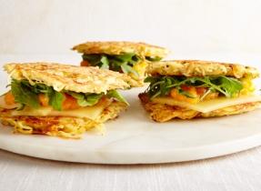 Cheddar latke sandwiches