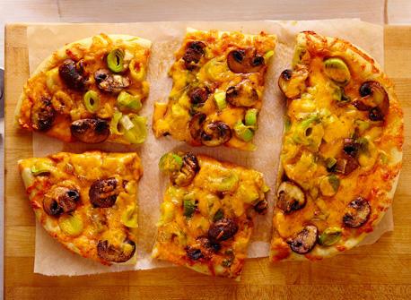 Cheddar, leek & mushroom focaccia     Recipe