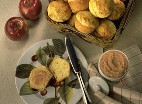 Cheddar Muffins with Apple Butter