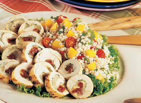 Cheese-Stuffed Chicken Breasts on Barley Salad with Peaches