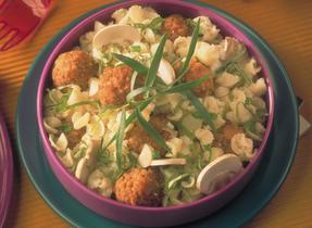 Cheesy Pasta Salad with Mini Meatballs