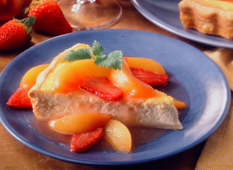 Cheesy Pie with Peach Strawberry Compote Recipe