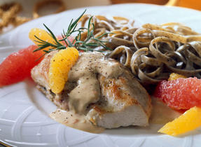 Chicken Breasts with Citrus Fruit and Cream Cheese Sauce