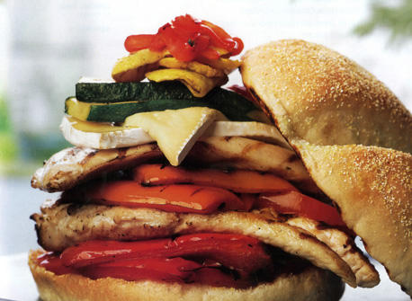 Chicken Burger with Grilled Vegetables and Brie Recipe