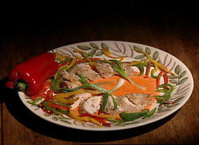 Chicken Cutlets with Gouda, Sesame and Sweet Peppers