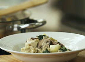 "Chicken & Mushroom Barley ""Risotto"" with Pear & Asiago"