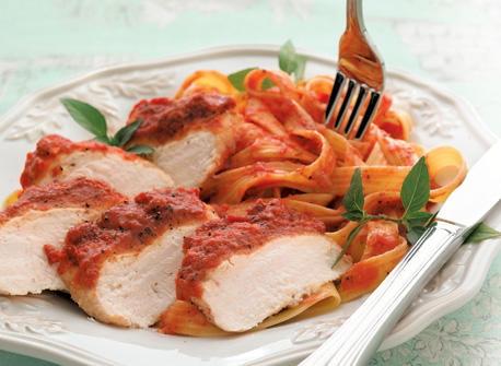 Chicken Parmesan with Creamy Tomato Pasta recipe | Dairy Goodness