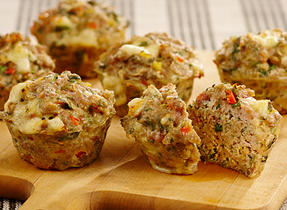 Chicken, Watercress and Gouda Mini-meatloaves