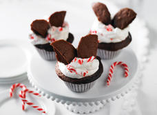 Chocolate Angel Cakes with Candy Cane Cream Recipe