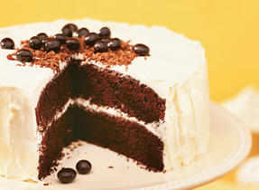 Chocolate Coffee Cake with Vanilla Butter Icing